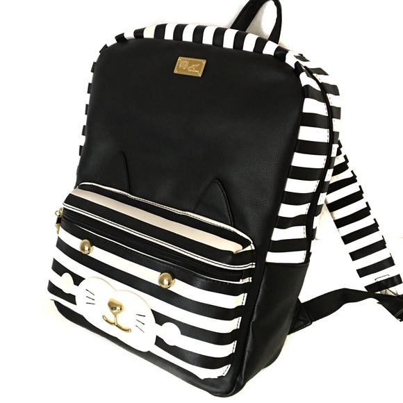3d467d6e546c NEW Luv Betsey Johnson Black Cat Striped Backpack